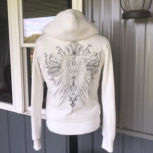 Cello Jeans White Faux Fur Lined Bling Hoodie